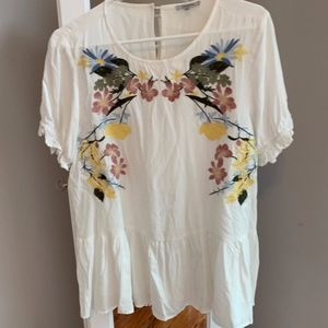 Ivory and Floral Embroidered Top